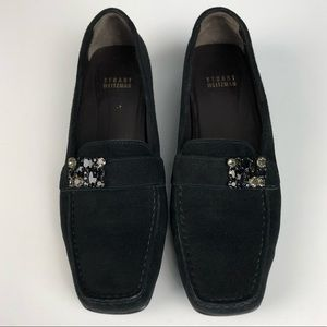 STUART WEITZMAN Black Suede Jeweled Loafers 8 Chic